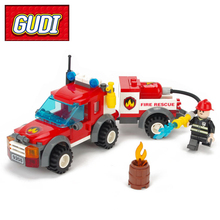 GUDI 9208 Fire Truck Blocks Children Educational Assembled Model Building Kits Blocks Toy Boy Kid Best Christmas Gift Brinquedos