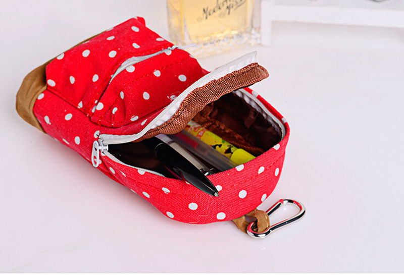 1pc cute Korean Big Capacity Canvas Backpack Polka Dot Pencils Bag Pencil Cases Pen Storage Cosmetic Bags forWomen School Office
