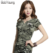 Buy 2017 Casual Fashion Summer Tops V-Neck T-Shirt Military Uniform Camouflage Ladies Tee Shirt Femme Short Sleeve Camisetas Mujer for $11.90 in AliExpress store