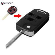 KEYYOU Folding Remote Car Key Flip Uncut Blank Car Key Shell bag for Lexus Es Rx Lx Gs 3 Buttons Shell Case Fob