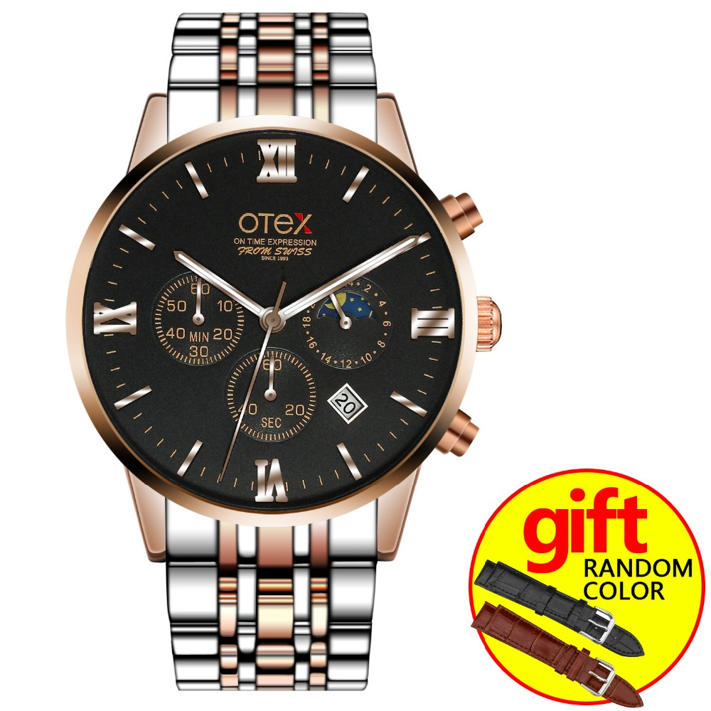 Mens Luxury Stainless Steel Analog Display Men Quartz Watch Casual Wristwatch for otex<br>