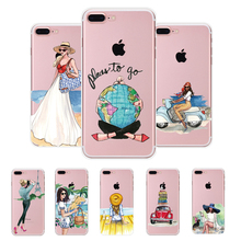 MISSCASE For iPhone 6 6s 7 plus Case Go Travel Paint 5 5S Transparent Silicone Cover coque For iphone 5S SE 6 7 Phone Cases