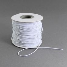 Round Elastic Cord, with Nylon Outside and Rubber Inside, White, 1mm; 100m/roll