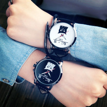 Lovely Cat Watch Simple Quartz Wrist Watches Black and White Big Dial Couple Watch Fashion&Casual for Man and Woman