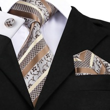Mens Ties Brown Gold Stripes Jacquard Necktie Hanky Cufflink Set Sell Like Hot Cakes Business Wedding Ties For Men C-905(China)