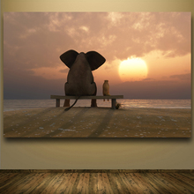 Elephant And Dog Looking At Sunset HD Painting Modern Canvas Prints Wall Pictures For Living Room Home Decor Wall Art Unframed
