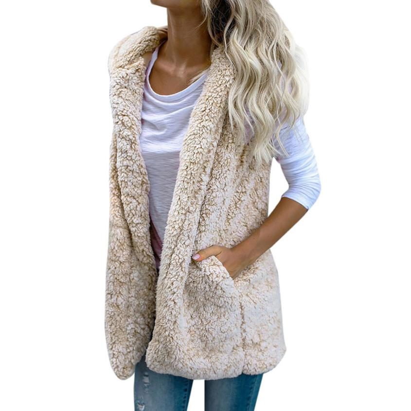 NEW Womens Vest Winter Warm Hoodie Outwear Casual Coat Faux Fur Zip Up Sherpa Jacket Vest Cardigan woman vests 2018 DROPSHIPPING