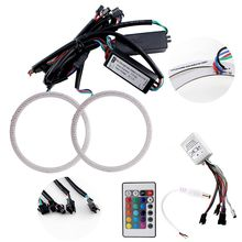 1Pair(2Pcs)Universal MultiColor100MM 102SMD LED Chips RGB LED Angel Eyes Light Headlight Halo Ring Remote Control Kit
