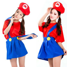 Adult Woman Girls Super Mario Luigi Bros Cosplay Costume Fancy Dress Carnival Party Supplies