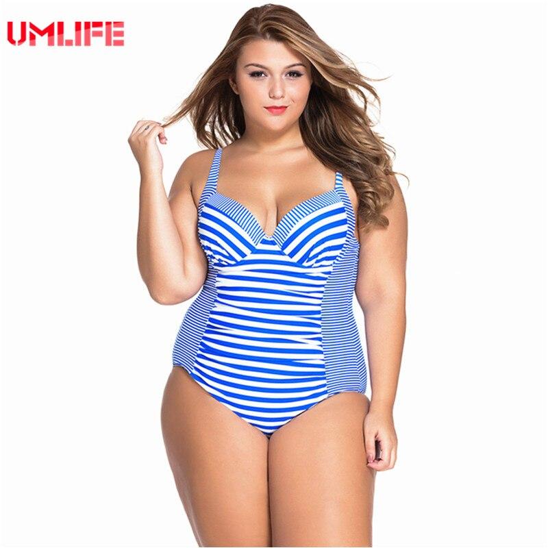 UMLIFE One Piece Swimsuit Plus Size Swimwear Women Striped Bandage Bathing Suit Large Size Tankini Swimsuits Woman plavky<br>