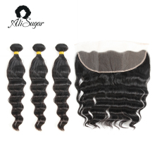 Ali Sugar Hair Cambodian Hair Loose Wave Virgin Hair Bundles With Frontal 100% Human Hair Extensions For Hair Salon High Ratio(China)