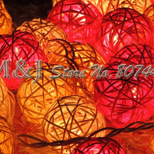3M 20Balls/Set Takraw Orange Series Colorful lightstring Cane lanterns Color Cane Christmas Decoration Supplies Party Supplies