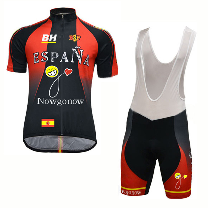 2017 hot Summer New style Men spain cycling jersey Sets MTB / road bike wear gel pad bicycle clothing Black por team Ciclismo