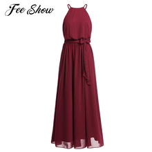 Fashion Women Ladies Sleeveless Halter Neckline Bridesmaid Party Long Dress Women's Chiffon Bridesmaid Full Length Maxi Dresses(China)