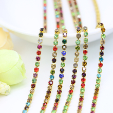SS6.5-SS12 Muti-color Close Metal Copper Rhinestone Cup Chain Trim Gold Crystal Chaton Chains For DIY, 3.5-5Meters/set(China)