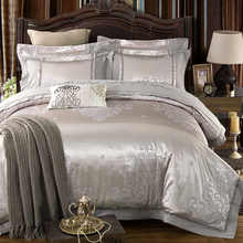 Silver Color Luxury Jacquard Bedding set Stain Cotton fabric Bed set 4/6Pcs King Quee size Bedsheet set Duvet cover Pillowcases