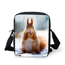 squirrel pattern front view messenger bags for women travel or shopping boy or girls leisure small capacity single shoulder bags
