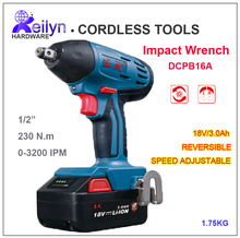 18V/3.0Ah M12-M16 Cordless Impact Wrench Speed adjustable Rechargeable Battery Operated Torque Wrench Tightening Tool DCPB16A