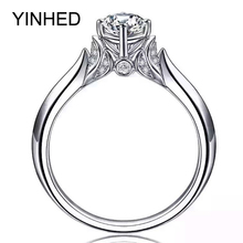 YINHED Brand Design Swan Ring Solid 925 Sterling Silver Engagement Wedding Rings for Women 1ct 6mm CZ Diamant Ring Jewelry ZR350