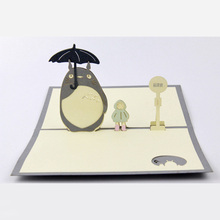 Wholesale Cute Cartoon 3D Pop Up Cards My Neighbor Totoro Best Wishes Birthday Valentines Day Thanks Greeting Card w/Envelope(China)