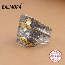BALMORA 100% Real 925 Sterling Silver Jewelry Butterfly Feather Retro Rings for Women Party Gift Bijoux Thai Silver Ring SY21477(China)