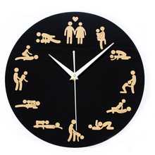 Sex Position Round Modern Design Wall Clock Novel Funny Antique Personal Cool Wall Clock Silent Non-ticking Wall Clock