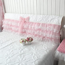 Romantic Princess bed headboard cover wedding decorative Embroidery cushion cover Elegant bow cake layer bed head board towel(China)