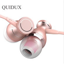 Fashion Metal Magnet Earphones 3.5mm Wired Stereo Headphones with Mic Universal Rose Gold Earbuds Headset for iPhone