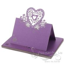 12pcs Name Place Card Wedding Party Table Setting Decor Heart Flower Purple Wedding Party Table Place Card Decoration