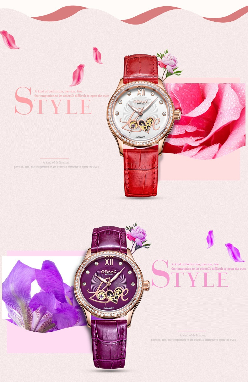 GUANQIN Watch Women Luxury Automatic Watches LOVE Shape MIYOTA Mechanical Movement Purple Sapphire 50 m Waterproof Leather Clock (7)