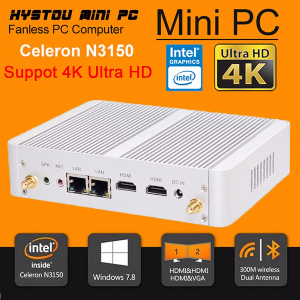 HYSTOU Micro computer N3150 N3050 Dual NIC Gigabit LAN Wintel Cheapest Mini PC Quad Core 2 HDMI 2.0 Windows 10 Mini PC Barebone(China (Mainland))