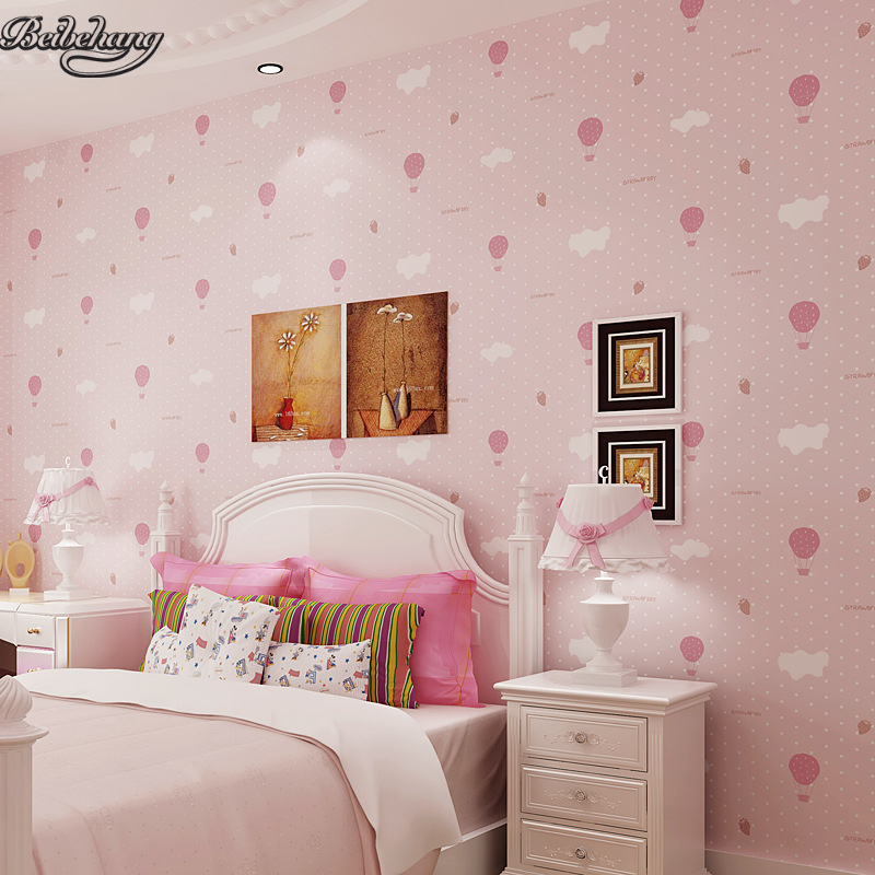 beibehang Environmental non - woven boy girl warm cartoon children s room blue sky clouds balloon wallpaper<br>