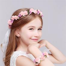 1 Set Wedding Headwear Bohemia Flower Floral Hairband+bracelet Children Girls Crown Headband Party Hair Accessories