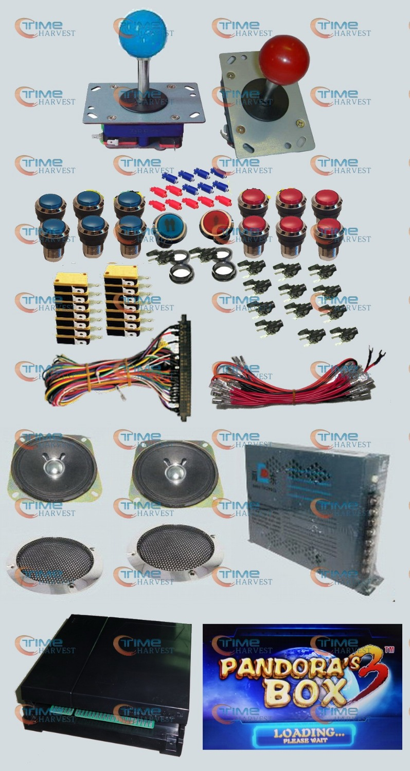 Arcade parts Bundles kit With 520 in 1 Pandoras Box 3 Long shaft Joystick Silver illuminated button Microswitch Jamma Harness<br><br>Aliexpress
