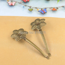 27mm Blank Bobby Pins Bases Settings Circle Filigree Flower pads Hair Clip Hairpins Crafts DIY Findings antique bronze tone