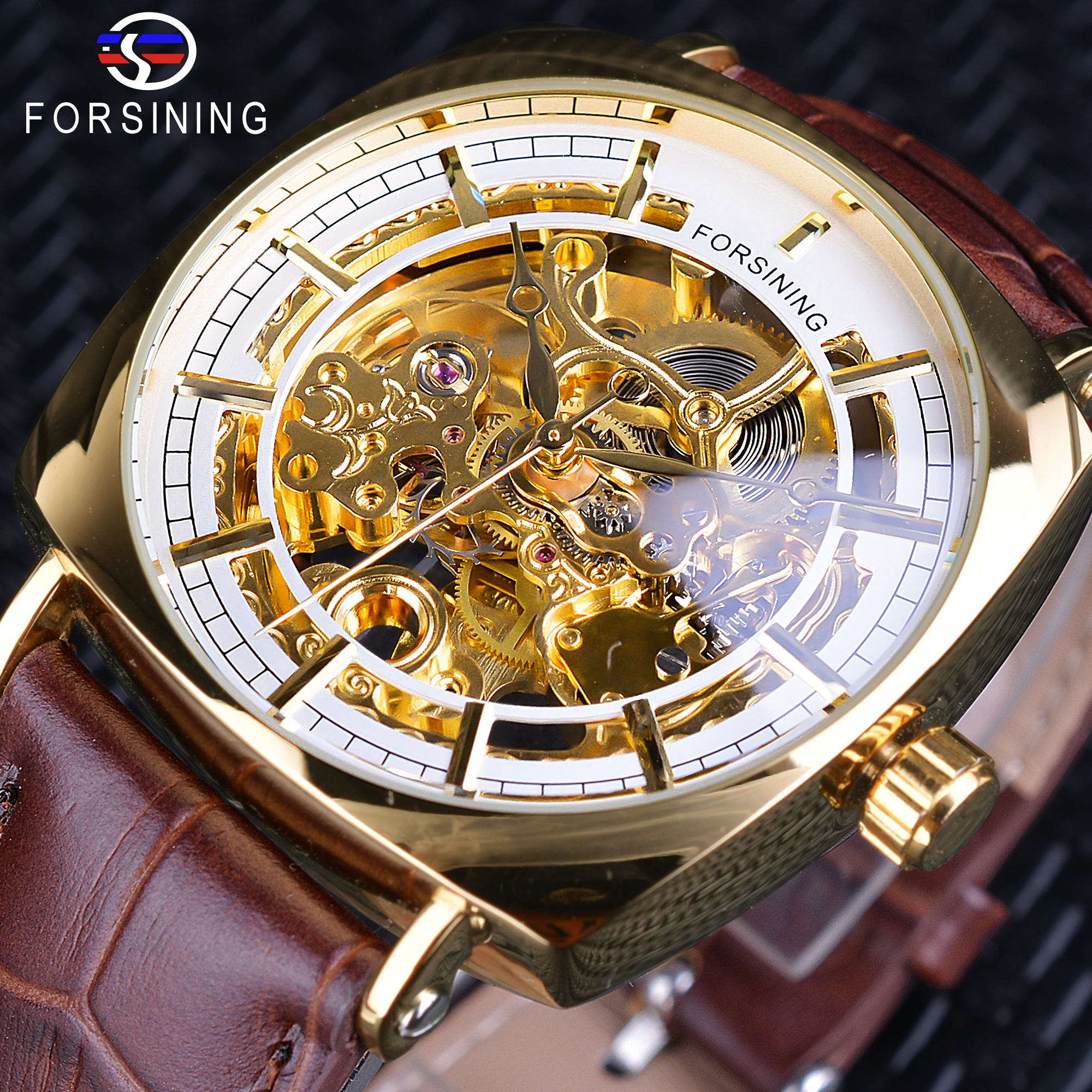 Forsining Classic Golden Mens Mechanical Openwork Wristwatches Top Brand Luxury Brown Leather Square Case Male Creative Clock<br>