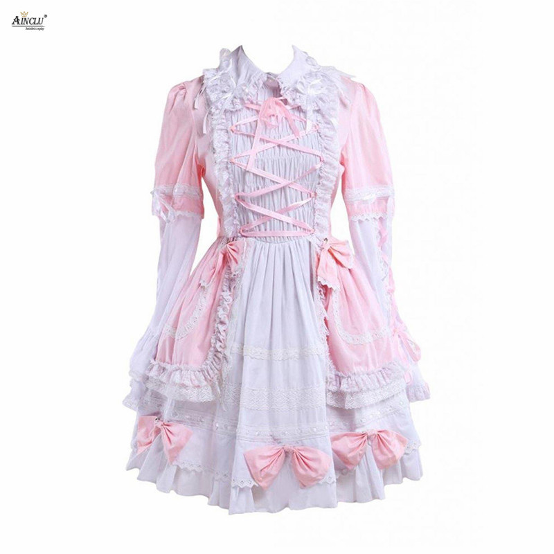 Sweet Lolita Dress Womens Cotton Pink&White Long Sleeves Bell Bottom Cute Girls Lolita Dress/Cosplay Costumes XS-XXL Party Club
