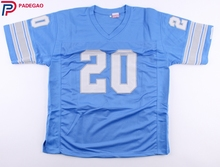 Embroidered Logo Barry Sanders 20 light blue throwback high school FOOTBALL JERSEY for fans 1224-7(China)