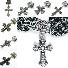 Mixed Rhinestone Crystal Zinc Alloy Cross Pendant Charms DIY Scarf Accessories Christian Jewellery(China)