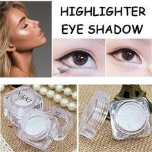 Makeup Fashion 2 in 1 Glitter Powder Face Highlighters Waterproof White Shimmer Powder Eyeshadow Palette Cheap Makeup(China)