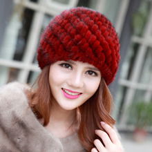 2017 BF-FUR Women's Winter Hats Lined Natural Real Fur Cap New Fur Knitted Cap Women Pineapple Hat Genuine Mink Fur Hat