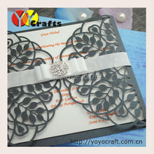 60sets/lot sample birthday invitation cards laser cut handmade paper invitaton card greeting card +ribbon/buckle