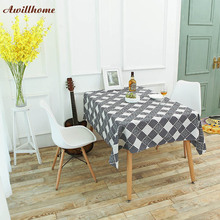 Awillhome 11Size Plaid Tablecloths Home Rectangle Tablecloths Linen Pastoral Dining TableCloths Home Table Covers Navidad Mantel(China)