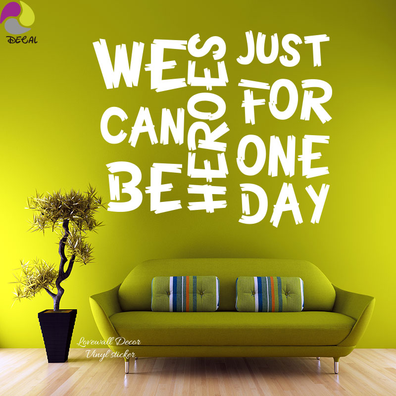We Can Be Heros Just For One Day Quote Wall Sticker David Bowie Song Music Lyrics Decal Baby Nursery Home Decor Vinyl