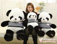 stripes cloth design large cartoon love panda plush toy,throw pillow toy, birthday gift h769(China)