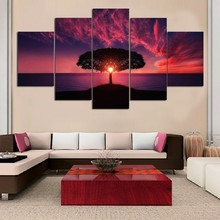 Tree Under Sunset Glow Landscape Modular Paintings On Wall Lagre Tree Wall Art Cuadros Decoracion Wall Pictures For Living Room(China)