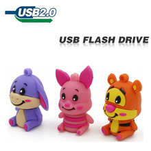 usb flash drive lovely cute animal pen drive donke pig tiger 4GB 8GB 16GB 32GB silicone U disk creative pendrive usb 2.0(China)