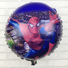 XXPWJ free shipping Hot models! Children's toys, birthday party Spiderman automatic sealing foil balloons wholesale round
