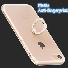 for iPhone 6 6s 7 Plus Case Matte Anti-Fingerprint with Ring Holder Protect Camera and Dustproof Acrylic back + TPU F Cover