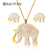 Small Natural Stone Elephant Pendant Necklace Earring Women Jewelry Sets Stainless Steel Jewelry Set N1